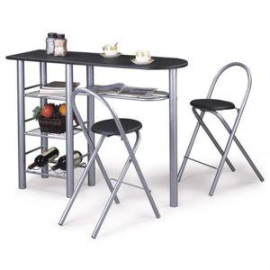 Idimex table haute de bar chaises style mdf noir pas for Table haute de bar noir