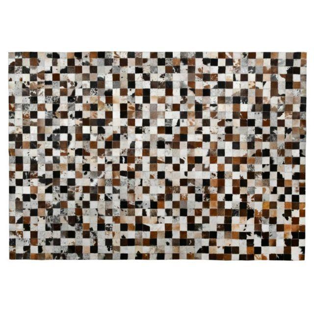 AUBRY GASPARD Tapis mosaïque en peau de vache