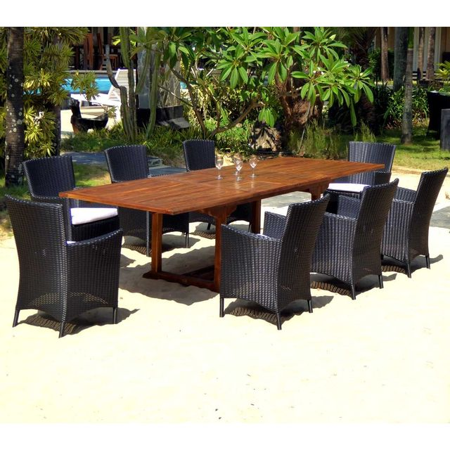 Wood En Stock - Salon de jardin Xxl table en teck 300 cm 8 fauteuils ...