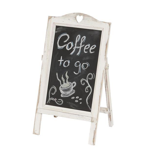 Mendler Tableau à disposer / tableau de publicité à craie, 66x39x33cm style shabby chic ~ blanc