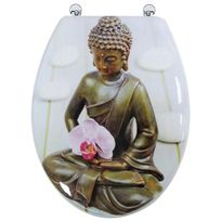 Arvix - Abattant de toilette en bois compressé Mdf Charnière métal Siege Wc standard . Bouddha