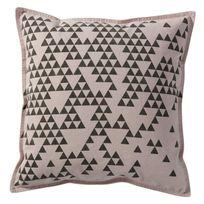 Pomax - Coussin 100% coton motif triangle déstructuré blanc/gris 45x45cm Goa