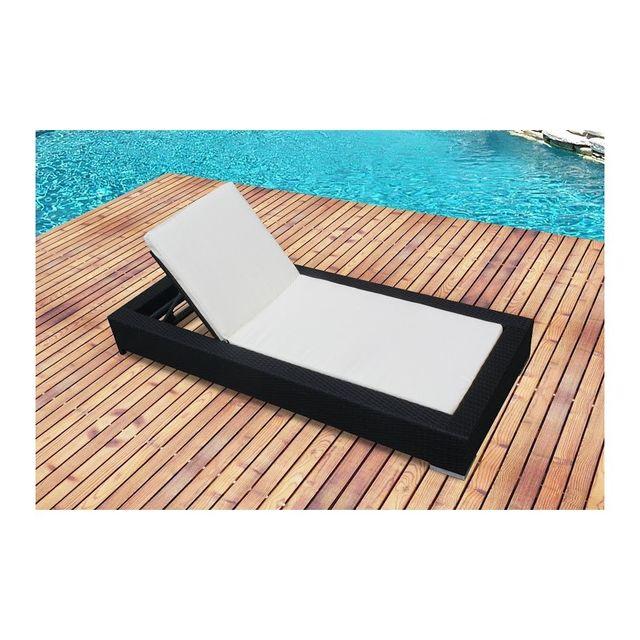 rocambolesk magnifique bain de soleil en rsine tresse avec matelas transat - Transat Soleil