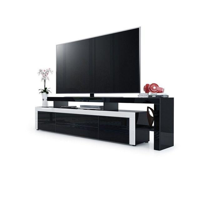 Mpc Meuble tv laqué noir/ blanc 193 cm