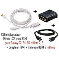 Cabling - Cable Adaptateur micro usb vers hdmi Mhl pour telephone samsung galaxy S4 - Samsung Infuse 4G - galaxy Nexus - Premium qualité - Blanc + coupleur Hdmi + cable Hdmi 2M