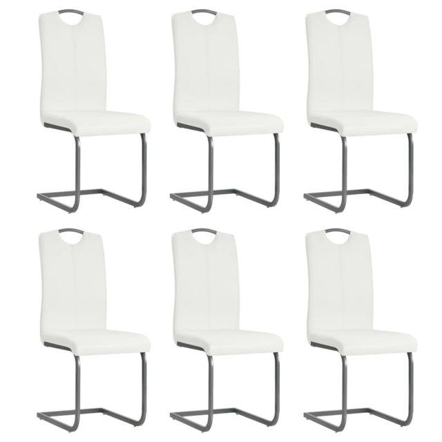 Chaises de salle à manger cantilever 6 pcs Blanc Similicuir