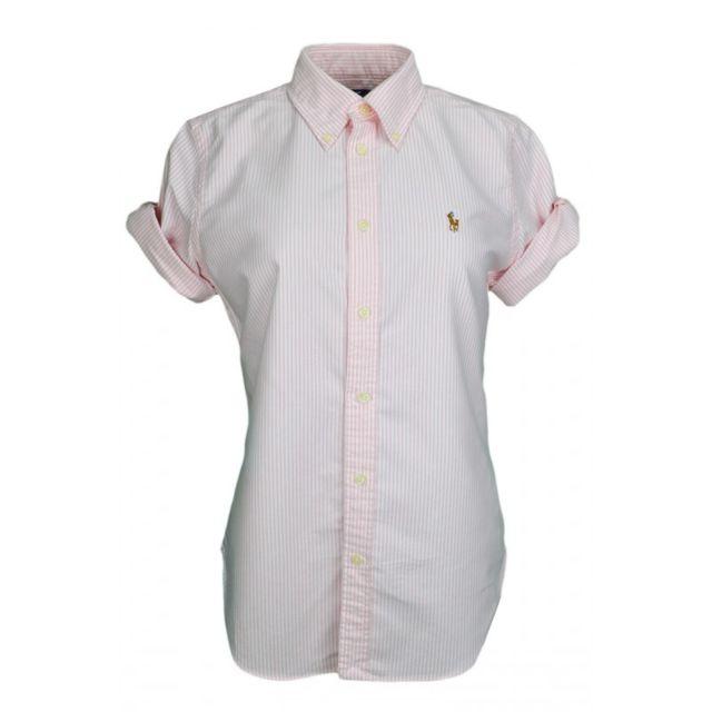 a8d8f09ef0a5 Ralph Lauren - Chemise rayée rose et blanche pour femme - pas cher Achat   Vente  Chemise femme - RueDuCommerce