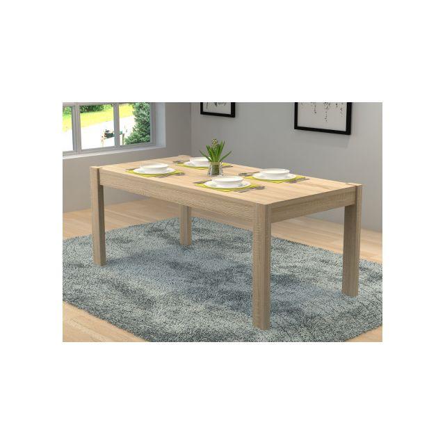 Marque generique table manger martial 6 couverts mdf coloris ch ne pas cher achat for Carrefour table a manger