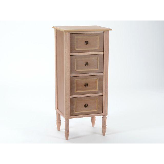 Amadeus Chiffonnier 4 tiroirs en bois à peindre H100 cm Merveille