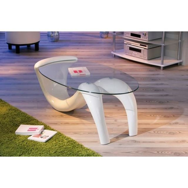 Inside 75 Table basse design Bella laque blanche et beige en verre