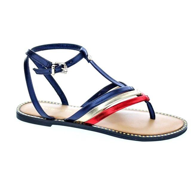 527a843ed016 Tommy hilfiger - Chaussures Femme Sandales modele Corporate Flat T-bar  Sandal - pas cher Achat   Vente Sandales et tongs femme - RueDuCommerce