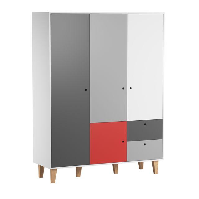 Vox Armoire 3 portes Concept - Rouge