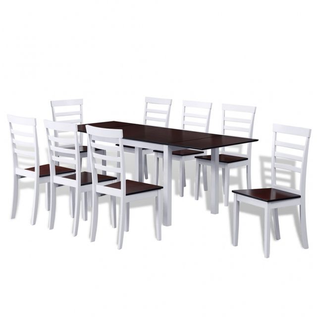 Casasmart Lot d'une table extensible et 8 chaises marron blanc
