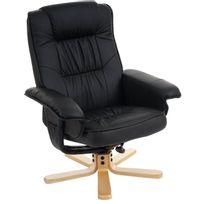 Mendler - Fauteuil de télé M56, fauteuil de relaxation sans tabouret, similicuir ~ noir
