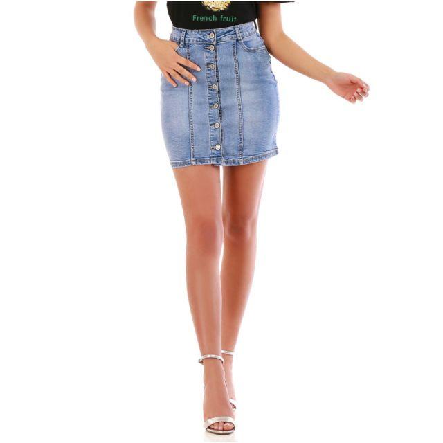 7119b6890d9aa8 Lamodeuse - Jupe bleue en jean à boutons - pas cher Achat / Vente ...