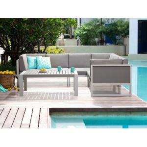 Soldes Beliani - Salon de jardin - Canapé d angle et table basse ...