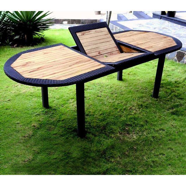 Wood En Stock - Table en teck brut et résine ovale 180-240 cm Bois ...