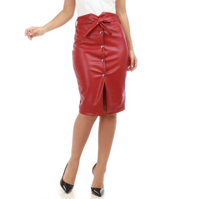 Lamodeuse - Jupe bordeaux en simili cuir taille haute avec ceinture ... c984ed6c3c7