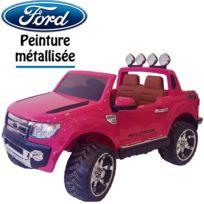 Ford - 4X4 voiture quad électrique pour enfant Ranger rose métal 12 volts à télécommande pack luxe pour fille