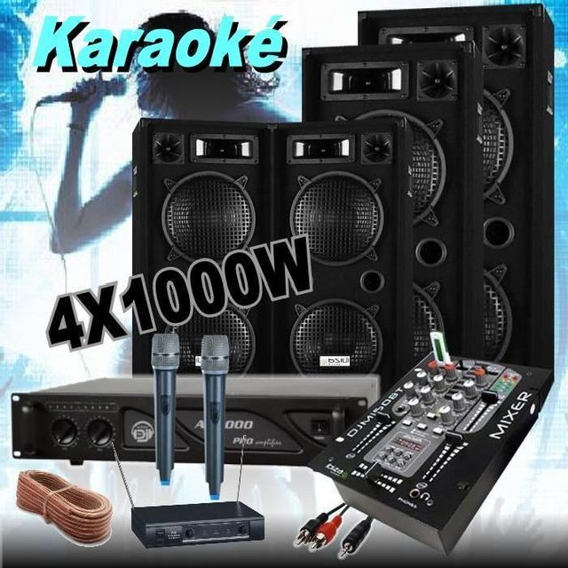 Ibiza Sound Pack karaoké - 2 micros hf - 1 ampli 2000w - 4 enceintes 1000w - bluetooth - dj-pa led