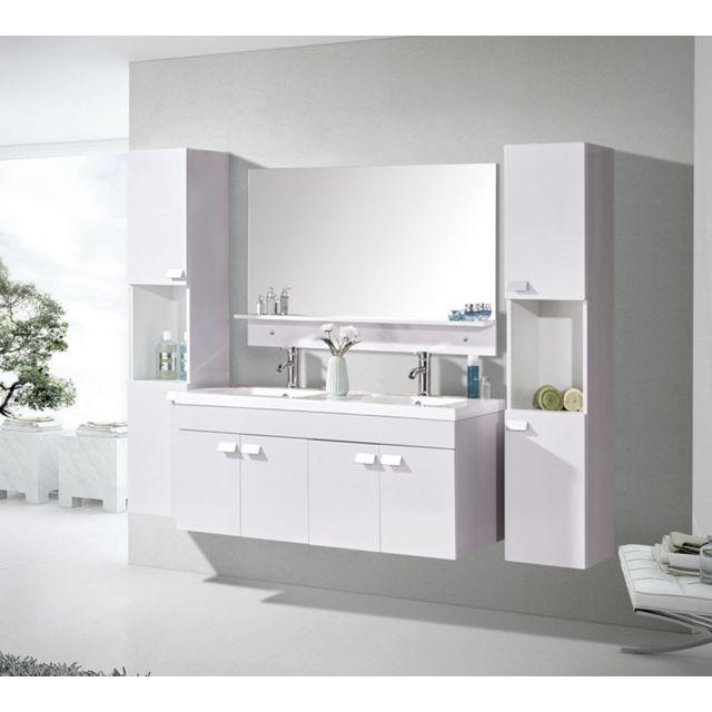 Meuble Salle De Bain Double Vasque Luxe Lavabo 120 Cm White Elegance