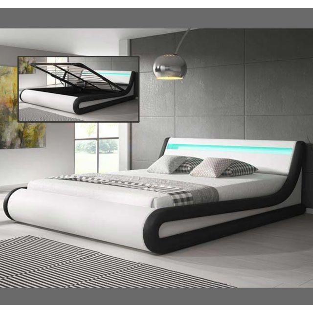 Design Ameublement Lit coffre design Parisina – blanc avec noir 150x190cm