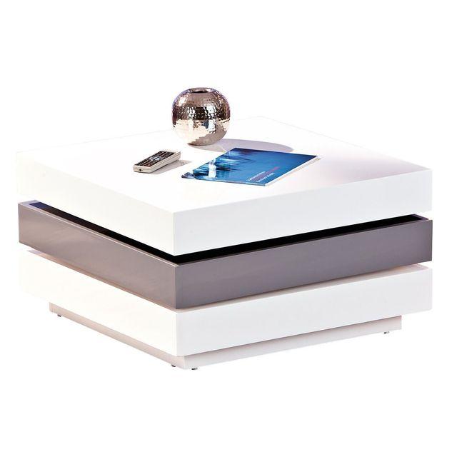 Comforium Table basse design carré à 3 plateaux pivotants