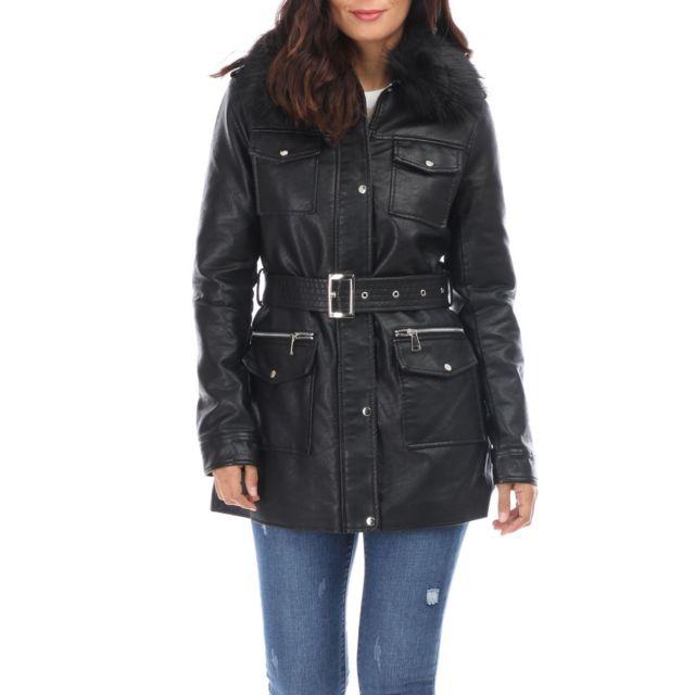 LAMODEUSE Manteau en simili cuir noir à col fourrure