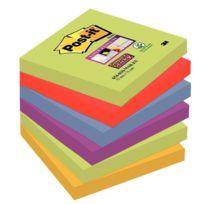 Post-it - paquet de 6 blocs de 90 feuilles super sticky , 76x76 mm, couleurs marrakech : vert, rouge, bleu, violet et jaune