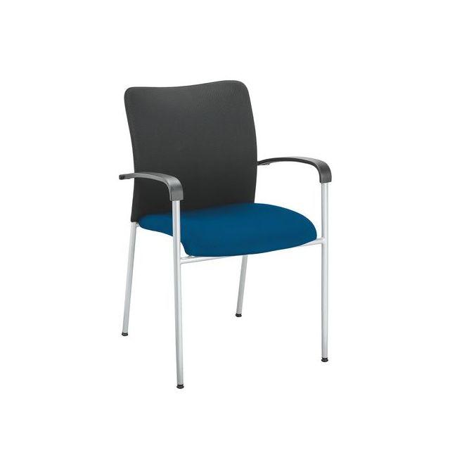 Fauteuil d'accueil empilable et léger- assise bleue - Lot de 4