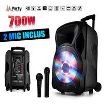 """Party Sound - Enceinte sono mobile amplifiée 700W 12"""" Led/USB/BT/SD/FM + Micros sans-fil/filaire Party12"""