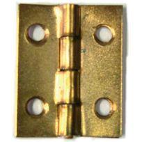 Strauss - Charnière rectangulaire fer laitonné 60 x 35 mm - Lot de 6