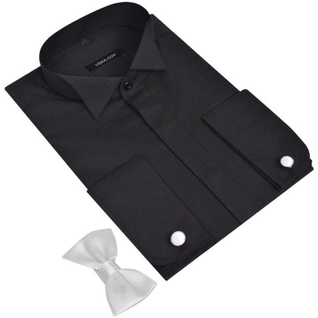 >Icaverne - Hauts famille Chemise homme avec bouton de manchette et nœuds papillon S