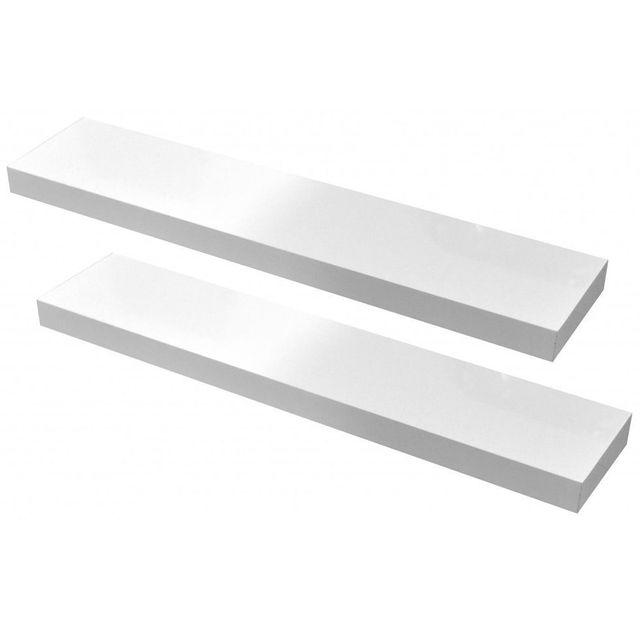 Jeu De 2 étagères Murale Blanc Laqué