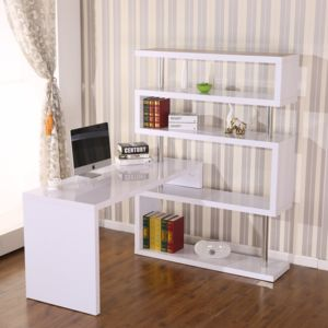 homcom bureau design contemporain avec biblioth que adjacente pivotante 360 blanc laqu. Black Bedroom Furniture Sets. Home Design Ideas