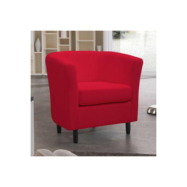 Fauteuil en coton rouge Plougastel
