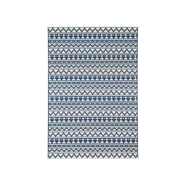 House Bay Tapis 100% polypropylène tissé plat motif ethnique mosaique Imani - Bleu/ecru - 80x200cm