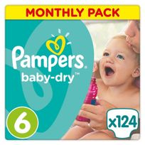 PAMPERS - Baby-Dry - Couches Taille 6 Extra large, 15+kg - 124 couches