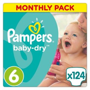 Soldes pampers baby dry couches taille 6 extra large for Pampers couche piscine