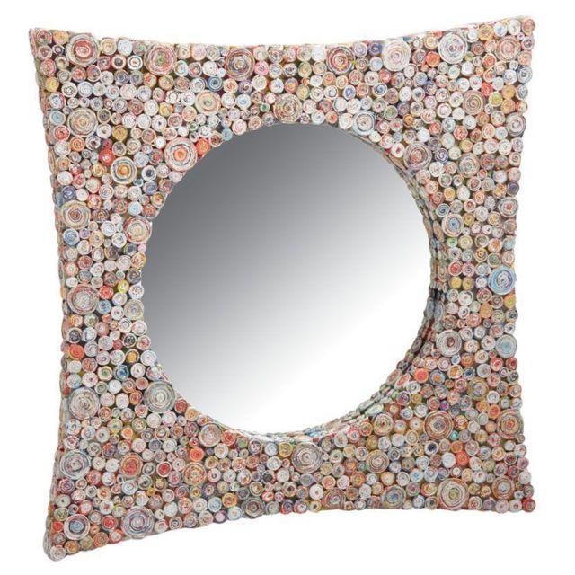 AUBRY GASPARD Miroir carré incurvé en papier recyclé