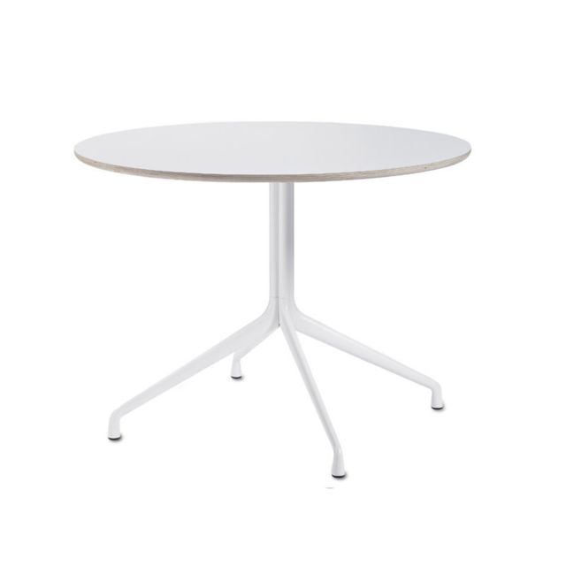 Hay About A Table Aat20 Quatre pieds - L Ø 100 cm - stratifié blanc, bordure contreplaqué