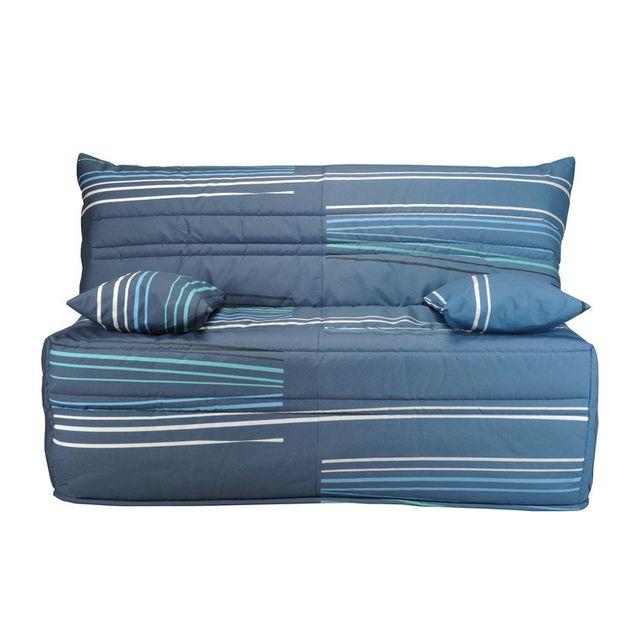 marque generique housse de bz matelass e tissu ouate 350gr m motif rayures sym triques. Black Bedroom Furniture Sets. Home Design Ideas