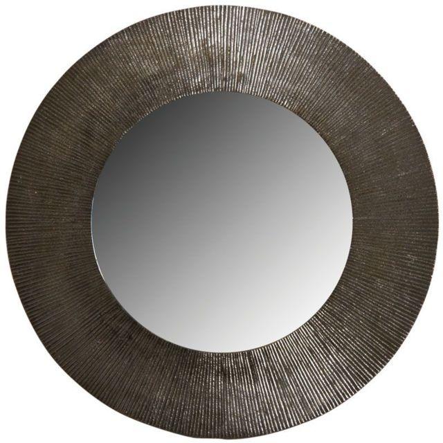 AUBRY GASPARD Miroir rond métal zinc antique