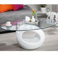 Import&DIFFUSION - Table Basse Ovale Rondo Coloris Blanc