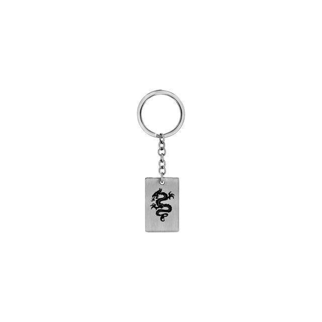 1001BIJOUX - Porte clef acier plaque Gi motif dragon noir - pas cher ... 43e44c6c2c4