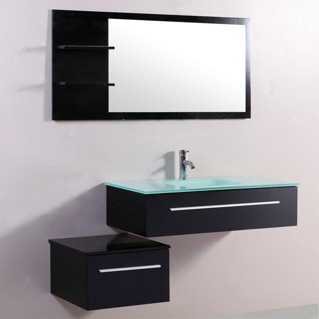 Concept Usine Lysea Wenge: ensemble salle de bain 2 meubles + 1 vasque + 1 mirroir