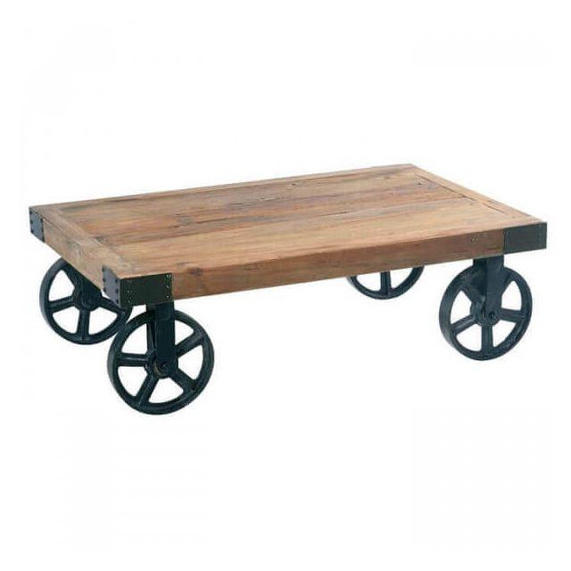 Mathi Design Table basse sur roulettes
