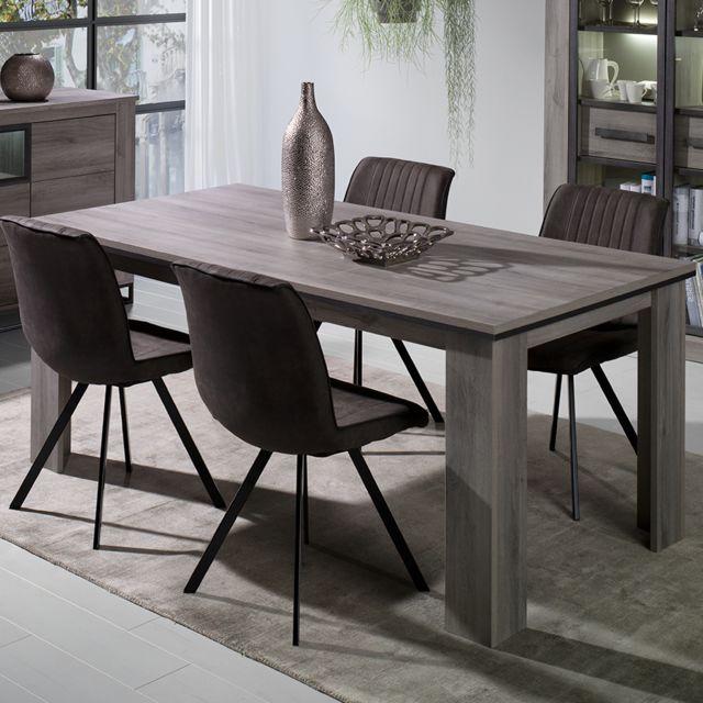 Nouvomeuble Table 180 cm couleur chêne gris Artos