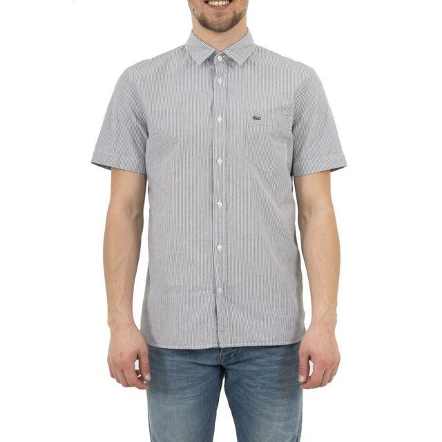 lacoste chemise manches courtes ch5007 bleu pas cher. Black Bedroom Furniture Sets. Home Design Ideas