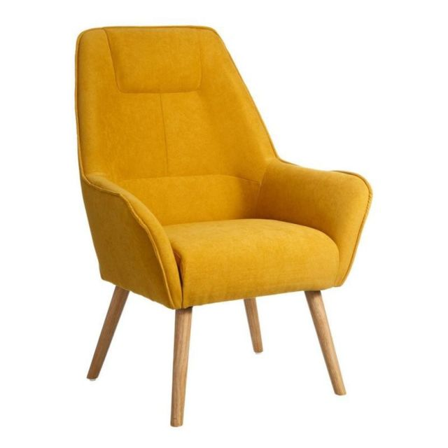 tousmesmeubles fauteuil velours jaune wave pas cher achat vente fauteuils rueducommerce. Black Bedroom Furniture Sets. Home Design Ideas